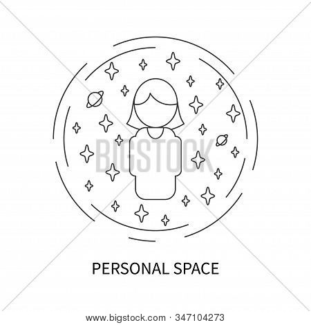 Woman In Sphere With Personal Space. Female Icon In Circle With Own Space In Linear Style. Personal