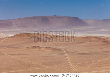 Paracas National Reserve, Colorful Sands, Desert Hills, In The Center Is A Highway, Pisco, Peru