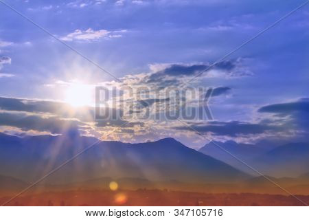 Bright Dawn Over The Mountain Peaks, Beauty And Purity Of Nature.light-filled Dawn In The Mountains.