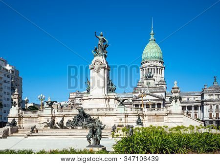 Buenos Aires, Argentina, The Congress Square With The National Congress Building In The Background
