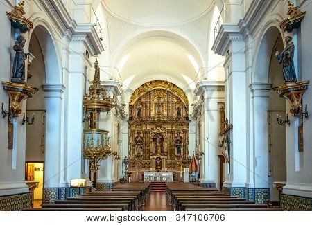 Buenos Aires, Argentina - January 20, 2018: The Nave Of The Basilica Of Our Lady Of The Pilar, In Th