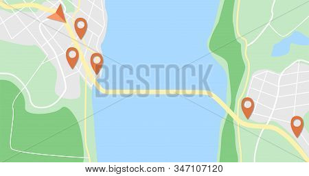 Gps Navigator Map With Red Pins. Map With River, City, Road And Bridge. Navigation Concept With Pin