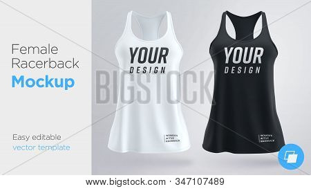 Womens White And Black Sleeveless Tank Top. Female Active Racerback Mockup