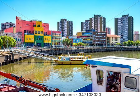 Buenos Aires, Argentina - January 19, 2018: La Boca District,  Colorful Buildings In Av. Don Pedro S