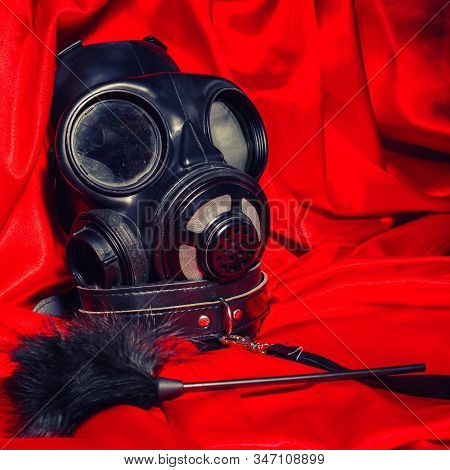 Close Up Bdsm Outfit. Bondage, Kinky Adult Sex Games, Kink And Bdsm Lifestyle Concept With Gas Mask,