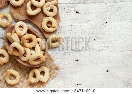 Taralli Traditional Italian Snack From Puglia Close Up