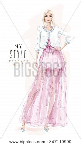 Hand Drawn Beautiful Young Woman In Pink Skirt And Jacket. Stylish Girl. Fashion Woman Look. Sketch.