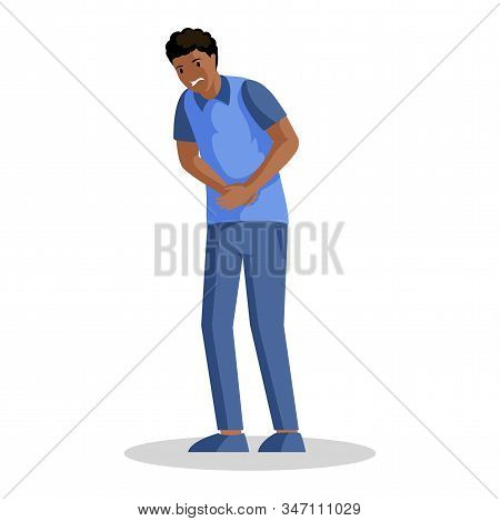 Guy With Stomach Ache Vector Illustration. Young African American Man Suffering From Abdominal Pain