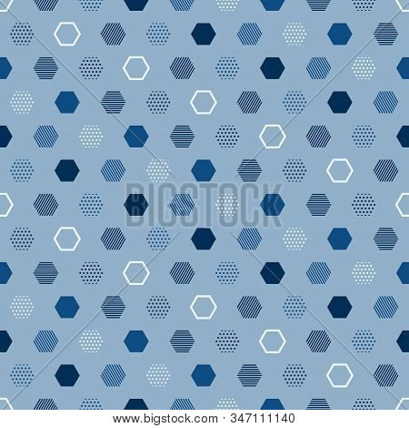 Modern Blue Seamless Pattern With Blue Abstract Background For Classic Vector Design. Modern Geometr