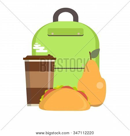 School Lunch Box. Childrens Lunch Bag With Sandwich, Fruit And Other Food. Kids School Lunches Icons