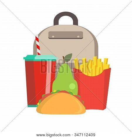 School Lunch Box. Childrens Lunch Bag With Sandwich, Soda, Fruit And Other Food. Kids School Lunches