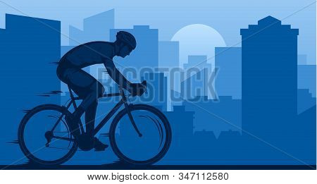 Vector Road Biking Illustration With A Cyclist