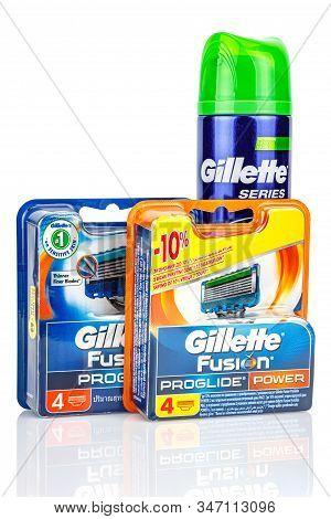 Moscow, Russia - January 23, 2020: Gillette Fusion Proglide Razor Blades In Blue And Orange Blister