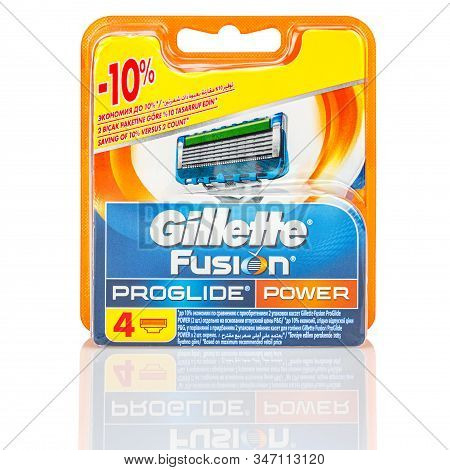 Moscow, Russia - January 23, 2020: Four Pieces Of Gillette Fusion Proglide Power Razor Blades In Ora
