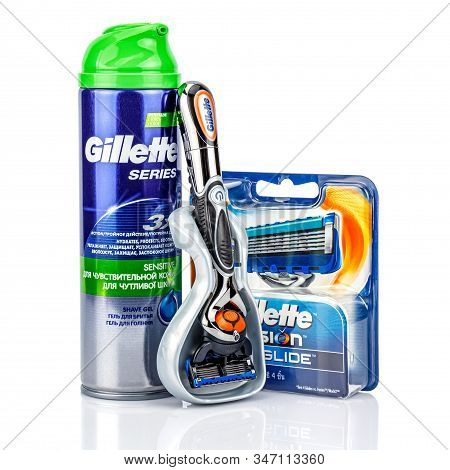 Moscow, Russia - January 23, 2020: Gillette Fusion Proglide Power Battery Razor Handle In Plastic St
