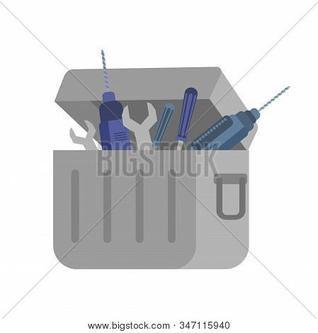 Professional Toolkit Flat Vector Illustration. Container With Specialized Repair Instruments Isolate