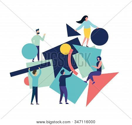 Vector Illustration Of Flat People. Team Of People Collect Abstract Geometric Puzzle. Symbols Collec