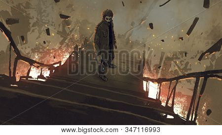 A Man In Coat With His Gun Standing On Burned Stairs, Digital Art Style, Illustration Painting