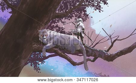 Little Girl With A Magic Spear Standing Near Her Tiger On A Big Tree, Digital Art Style, Illustratio