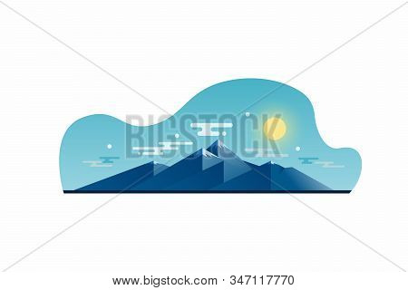 Illustration Of A Mountain Landscape In A Flat Style. Illustration For Printing Or Web Design, As We