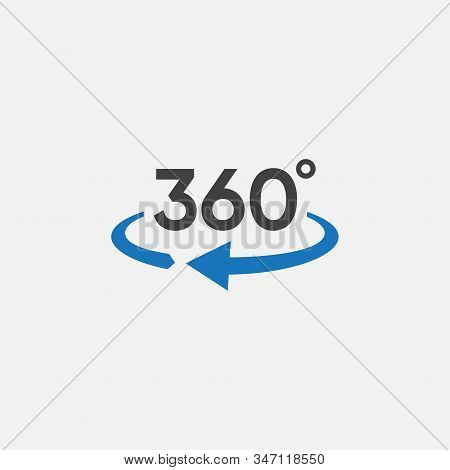 360 View Icon Graphic Design Template Vector, 360 Degrees Angle Icon In Trendy Flat Style, Icon Vect