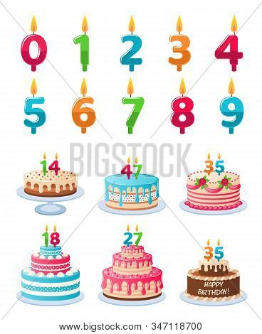 Cakes With Candle Numbers. Anniversary Birthday Cake With Candles, Colorful Delicious Desserts, Cele