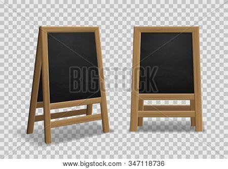 Menu Announcement Board. Realistic Black Wooden Easel, Sidewalk Stand, Restaurant Board Different An