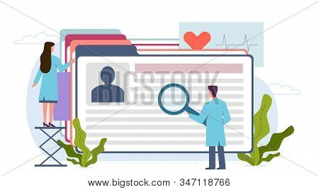 Medical Record. Doctor, Nurse And Patient Medical Card. Diagnosis Research Clinic, Healthcare Insura
