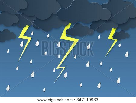 Rain Thunder Lightning Paper Cut. Rainy Season, Heavy Rain Falling Water Drops. Cloudy Sky And Flash