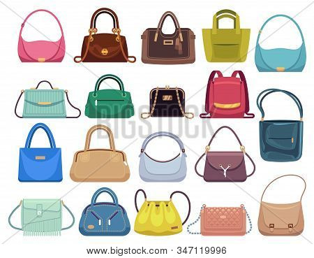 Leather Handbags. Woman Colorful Luxury Modern Hand Bag With Handle, Beautiful Clutch And Accessory