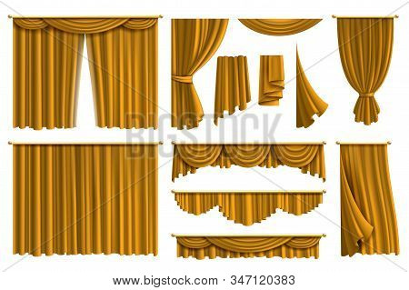 Realistic Golden Curtains. Luxury Fabric Silk Curtain For Theatre Or Window Decoration In Interior I