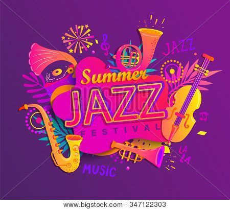 Poster For Summer Jazz Musical Festival With Classic Music Instruments - Cello, Cornet, Tuba, Clarin