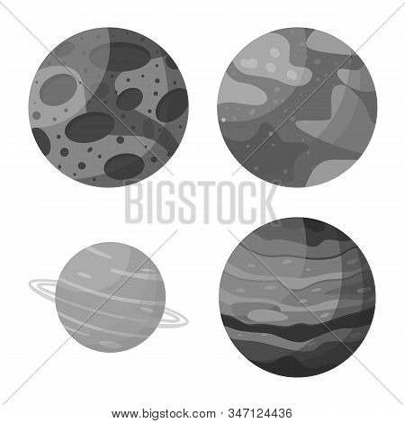 Vector Design Of Universe And Astronomy Logo. Set Of Universe And Galaxy Stock Symbol For Web.