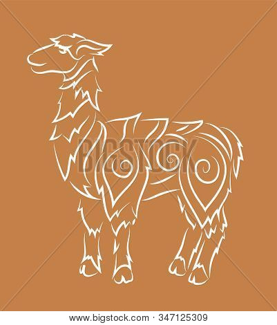 Beautiful Hand Drawn Linear Illustration With White Cartoon Lama Silhouette On The Peru Color Backgr