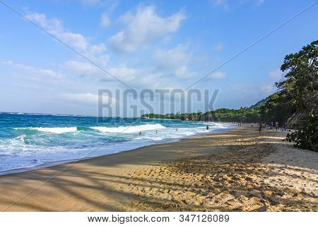 Caribbean, Colombia - January 7: Caribbean Beach With Tropical Forest In Tayrona National Park, Colo