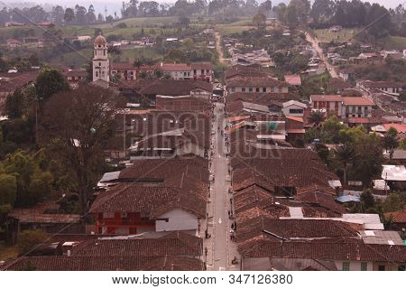 Aerial View Of The Small Andean Peasant Village Of Salento, In The Quindio Coffee Region, Near The C