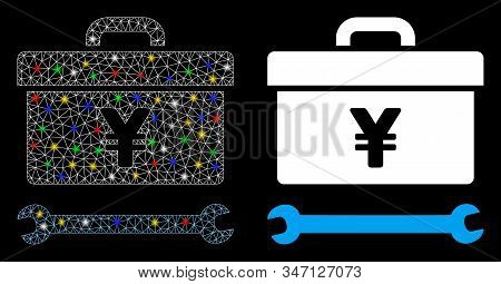 Glowing Mesh Yen Toolbox Icon With Sparkle Effect. Abstract Illuminated Model Of Yen Toolbox. Shiny