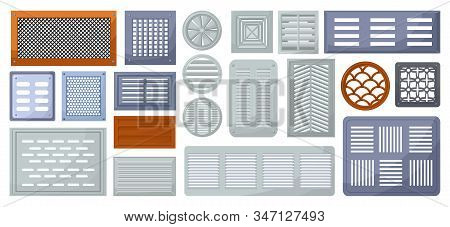 Air Vent Vector Cartoon Set Icon.vector Illustration Ventilation Grate On White Background .isolated