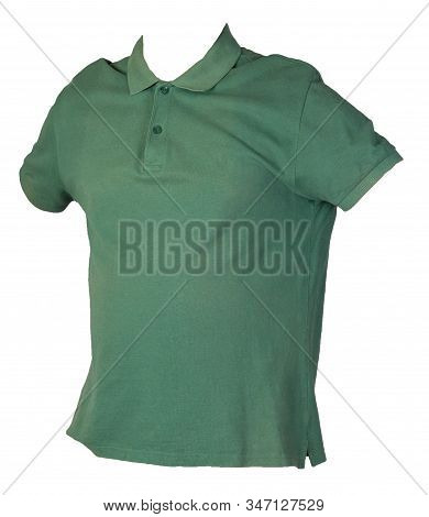 Short Sleeved Dark Green T-shirt Isolated On White Background Cotton Shirt . Casual Style