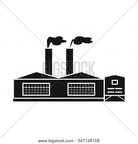 Isolated Object Of Manufactory And Fuel Logo. Collection Of Manufactory And Oil Stock Symbol For Web