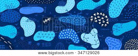 Vector Abstract Creative Background With Hand Drawn Elements And Different Textured Shapes. Freehand