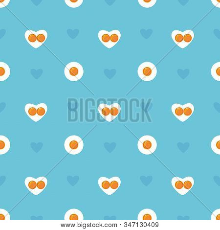Happy Valentines Day Seamless Blue Pattern. Heart Shape Fried Eggs On The Pan. Valentines Day Concep
