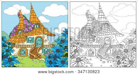Summer Fairytale Big Home With Two Roofs Twined Roses Color And Outlined Isolated On A White Backgro