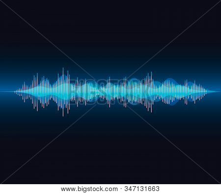 Long Voice Wave In Colorful Modern Style. Bright Voice Visualisation On Dark Gradient Background