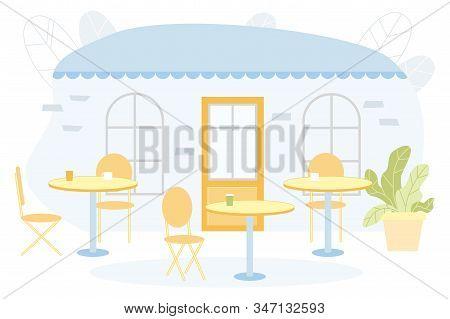 Flat Banner, Restaurant Patio Interior Cartoon. Successful Establishment, Summer Terrace Small Cafe.
