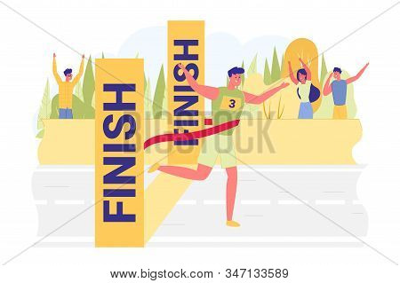 Guy In Tracksuit Finishes And Wins Race, Banner. Successful Completion Marathon. Man Crossed Finish