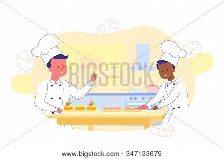 Cartoon Two Young Happy Boys In White Cook Chef Clothes Decorating Cakes. Multiracial Friends. Flat