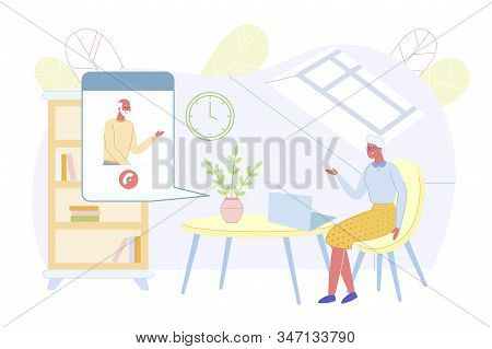 Senior People Using Smart Technologies. Grandmother Sitting At Home At Laptop Talking With Grandfath