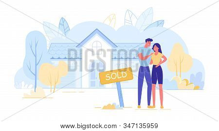 Happy Young Married Couple Owners Hugging Together Standing Outdoors Near Facade Of Buying New Home.
