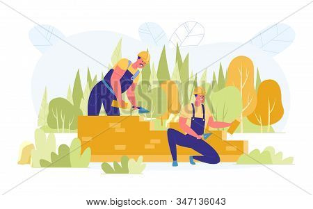 Construction Country Brick House, Vector Cartoon. Builders Erect Wall Future Home. Around Dense Fore